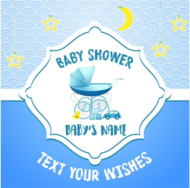 Modelo de cartão de convite de chuveiro de bebê