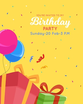 Modelo de cartão de convite de feliz aniversário