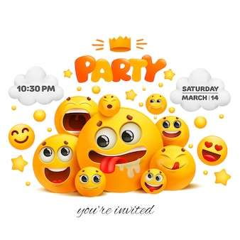 Modelo de cartão de convite de festa com grupo de caracteres emoji.