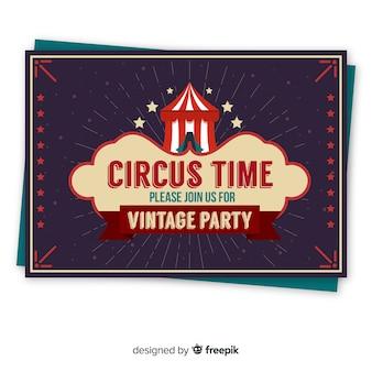 Modelo de cartão de convite de festa de circo vintage
