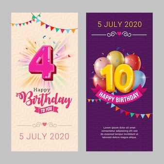 Modelo de cartão de convite de festa feliz aniversário