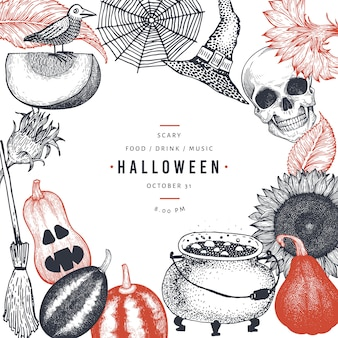 Modelo de cartão de convite de festa feliz dia das bruxas com elementos assustadores de esboço