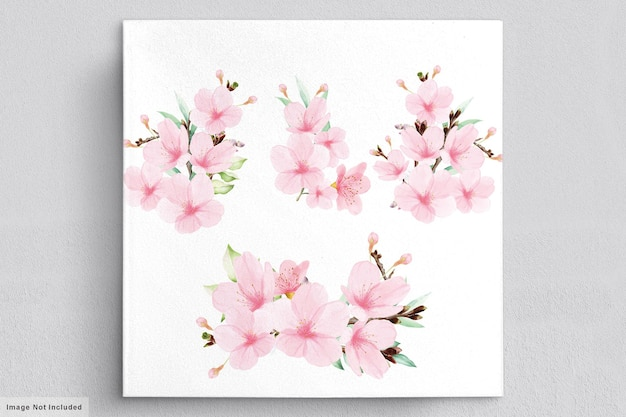Modelo de cartão de convite de flor de cerejeira em aquarela