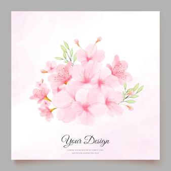 Modelo de cartão de convite de flor de cerejeira