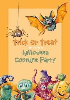 Modelo de cartão de convite de halloween de crianças fofos