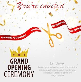 Modelo de cartão de convite de inauguração