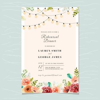 Modelo de cartão de convite de jantar de ensaio com luz de seqüência de caracteres e aquarela floral