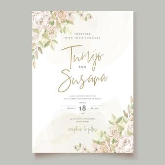 Modelo de cartão de convite de lindas rosas