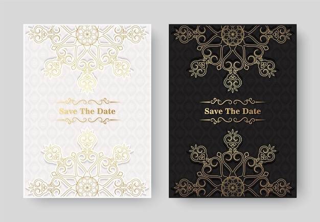 Modelo de cartão de convite de ouro vintage de luxo