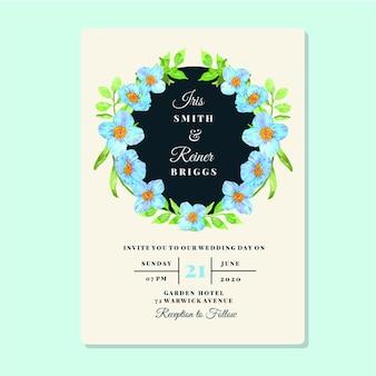 Modelo de cartão de convite de quadro de papoula azul floral em aquarela