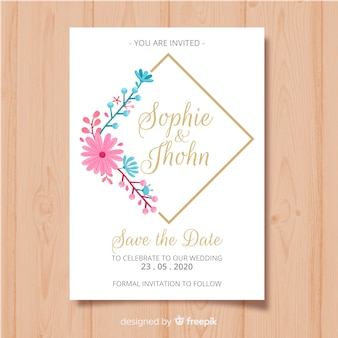 Modelo de cartão de convite de quadro floral