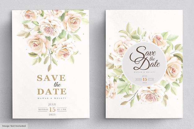 Modelo de cartão de convite de rosas desenhadas à mão