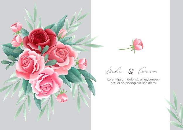 Modelo de cartão de convite de tema de flores