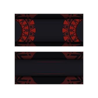 Modelo de cartão de convite de vetor com lugar para o seu texto e ornamento abstrato. design luxuoso de um postal na cor preta com um ornamento grego vermelho.