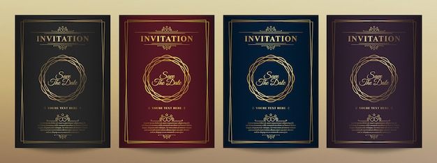 Modelo de cartão de convite de vetor de ouro vintage de luxo.