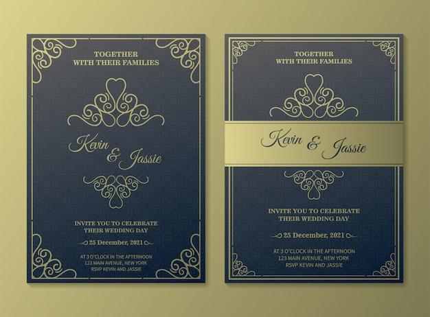 Modelo de cartão de convite de vetor dourado vintage de luxo