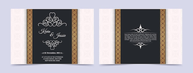 Modelo de cartão de convite dourado vintage de luxo