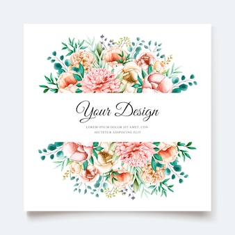 Modelo de cartão de convite elegante peônias