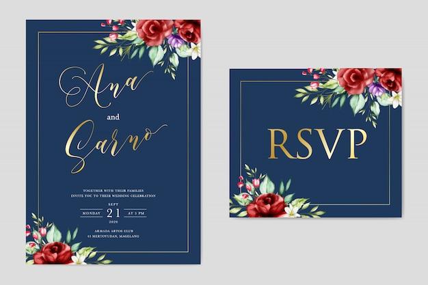 Modelo de cartão de convite floral casamento aquarela. reserve a data. responda por favor