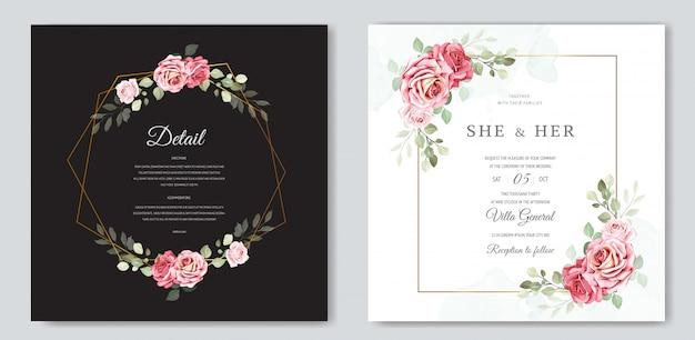 Modelo de cartão de convite floral e folhas