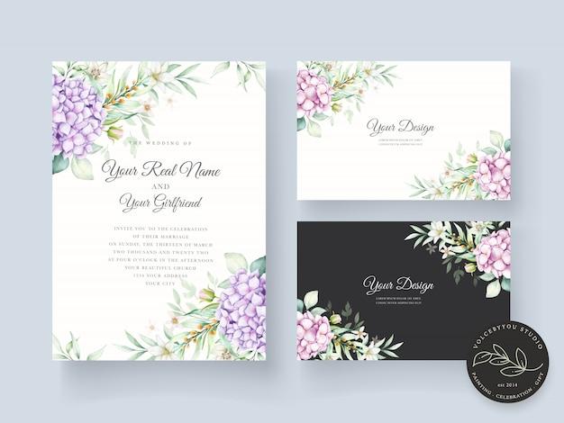 Modelo de cartão de convite floral em aquarela desenhado à mão