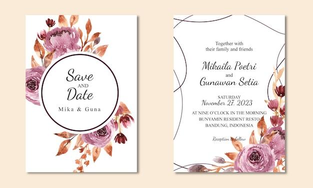 Modelo de cartão de convite floral em aquarela roxa