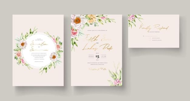 Modelo de cartão de convite floral em aquarela