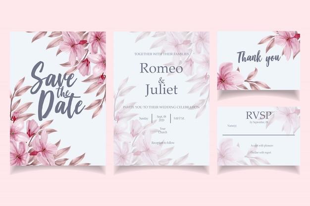 Modelo de cartão de convite lindo casamento aquarela