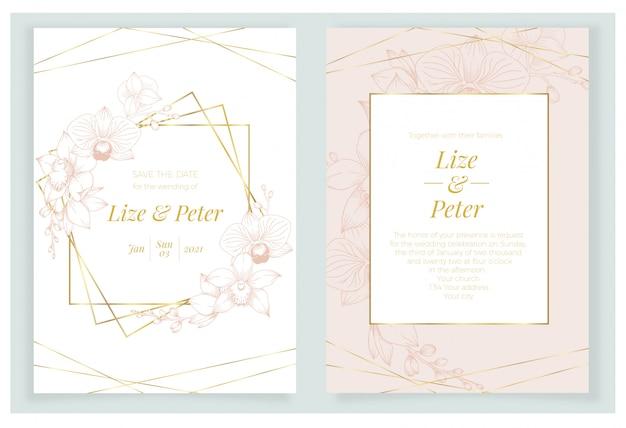 Modelo de cartão de convite moldura dourada com flores de orquídeas rosa fundo