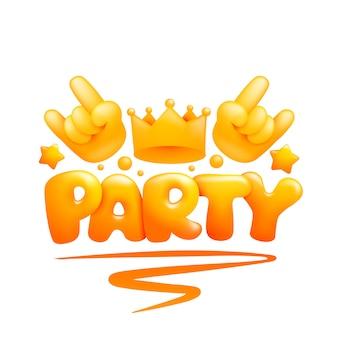 Modelo de cartão de convite para festa com mãos emoticon amarelo e coroa