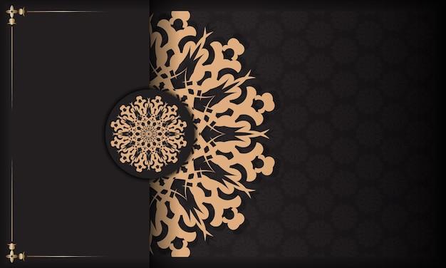 Modelo de cartão de convite para impressão de design com padrões vintage. banner apresentável preto com ornamentos luxuosos e lugar para seu projeto.
