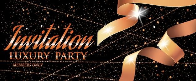 Modelo de cartão de convite vip festa de luxo com fita e faíscas