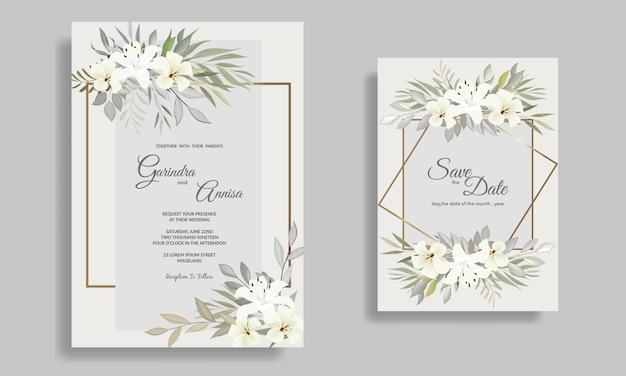 Modelo de cartão de convites de casamento elegante com floral branco e folhas