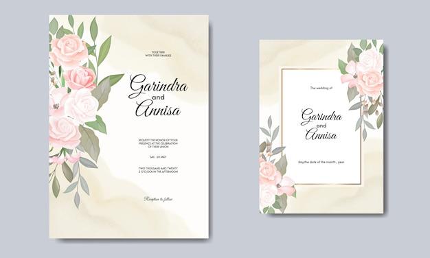 Modelo de cartão de convites de casamento elegante com flores e folhas