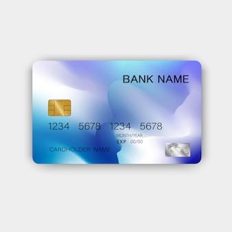 Modelo de cartão de crédito azul moderno