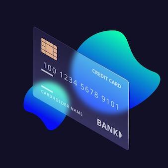Modelo de cartão de crédito com efeito de vidro isométrico