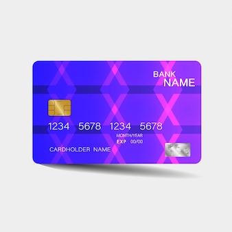 Modelo de cartão de crédito com elementos roxos