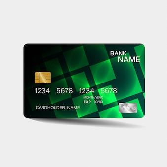 Modelo de cartão de crédito com elementos verdes