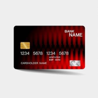Modelo de cartão de crédito com elementos vermelhos