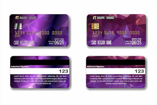 Modelo de cartão de crédito com textura baixa poli