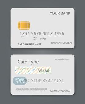 Modelo de cartão de crédito do banco branco