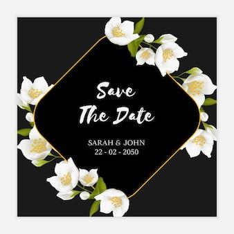 Modelo de cartão de data da flor de jasmim