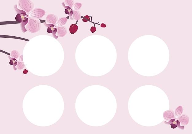 Modelo de cartão de desconto com flor de orquídea