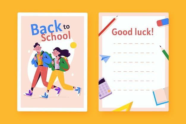 Modelo de cartão de design plano de volta à escola