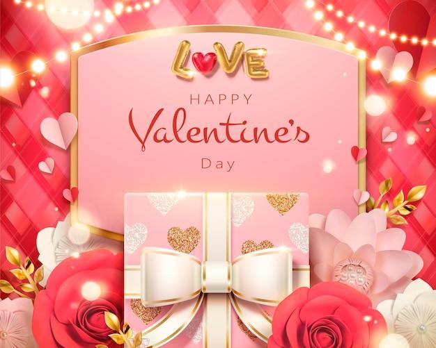 Modelo de cartão de dia dos namorados com caixa de presente e rosas de papel em ilustração 3d