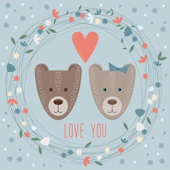 Modelo de cartão de dia dos namorados com desenhos animados engraçados de ursos, flores e corações