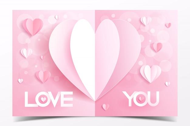Modelo de cartão de dia dos namorados rosa decorado com estilo de artesanato de papel de coração