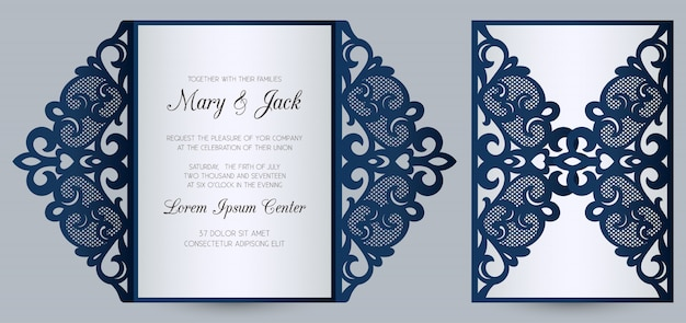 Modelo de cartão de dobra de portão de convite de casamento cortado a laser. convite de casamento ou capa de cartão com ornamento abstrato.