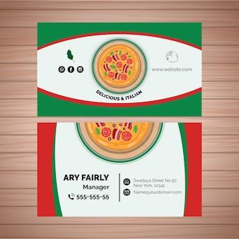 Modelo de cartão de dupla face para restaurante de pizza
