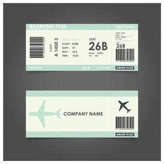 Modelo de cartão de embarque verde